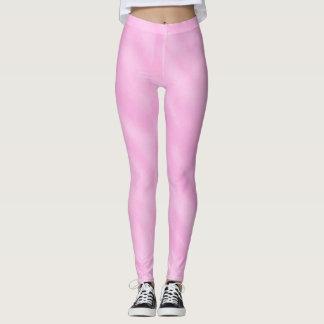 Pink White Watercolor Wash Leggings