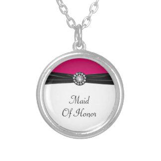 Pink & White With Black Velvet & Diamond Wedding Round Pendant Necklace