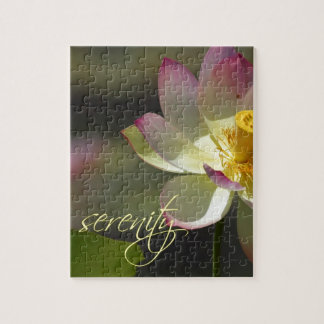 Pink White Yellow Lotus Blossom Serenity Puzzles