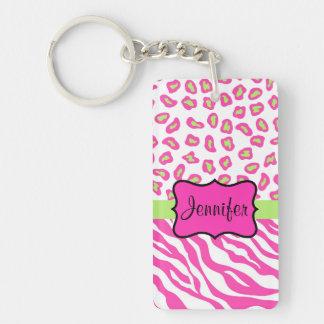 Pink & White Zebra & Cheeta Skin Personalized Double-Sided Rectangular Acrylic Keychain