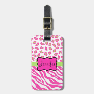 Pink & White Zebra & Cheeta Skin Personalized Luggage Tag