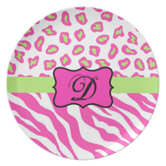 Pink & White Zebra & Cheeta Skin Personalized Plate
