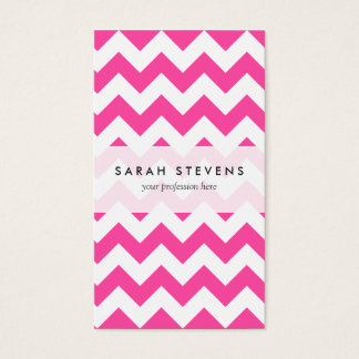 Pink White Zigzag Chevron Pattern Girly Business Card
