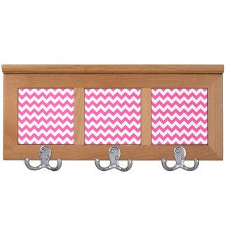 Pink White Zigzag Chevron Pattern Girly Coat Racks