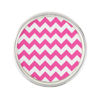 Pink White Zigzag Chevron Pattern Girly Lapel Pin