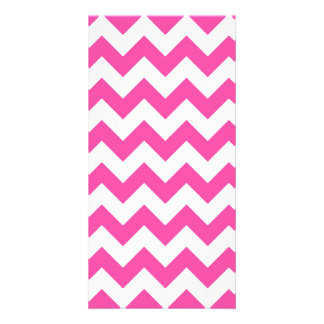 Pink White Zigzag Chevron Pattern Girly Photo Card Template