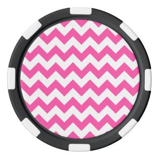 Pink White Zigzag Chevron Pattern Girly Poker Chips