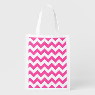 Pink White Zigzag Chevron Pattern Girly Reusable Grocery Bags