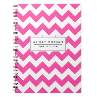 Pink White Zigzag Chevron Pattern Girly Spiral Notebooks