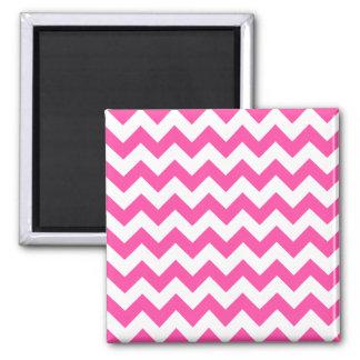Pink White Zigzag Chevron Pattern Girly Square Magnet