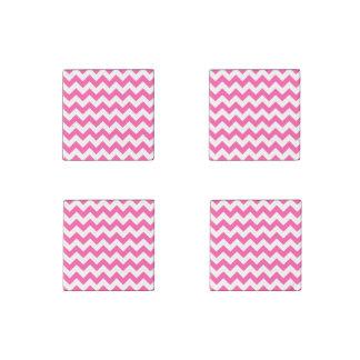 Pink White Zigzag Chevron Pattern Girly Stone Magnets