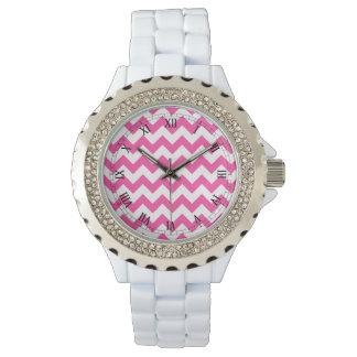 Pink White Zigzag Chevron Pattern Girly Watch