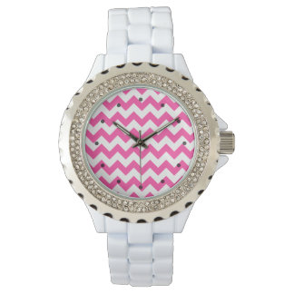 Pink White Zigzag Chevron Pattern Girly Wrist Watches