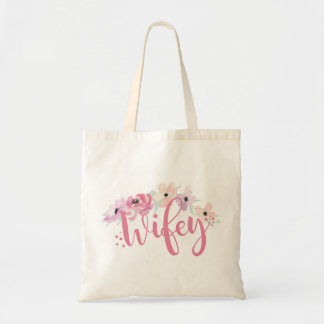 Pink Wifey Floral Tote Bag Bride-To-Be Gift Item