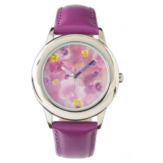Pink Wild flowers Wrist Watches