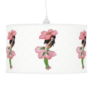 Pink Wild Rose Cute Flower Child Nursery Girl Pendant Lamp
