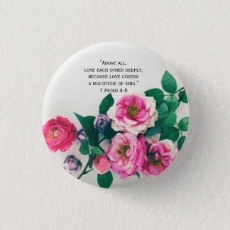 Pink Wild Rose Flower Bouquet Love Bible Verse 1 Inch Round Button