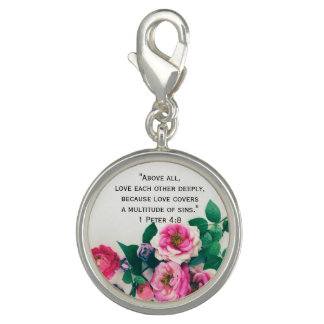 Pink Wild Rose Flower Bouquet Love Bible Verse Charm