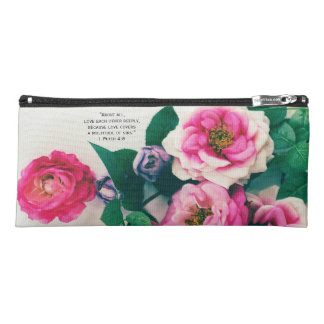 Pink Wild Rose Flower Bouquet Love Bible Verse Pencil Case