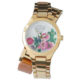 Pink Wild Rose Flower Bouquet Love Bible Verse Watch