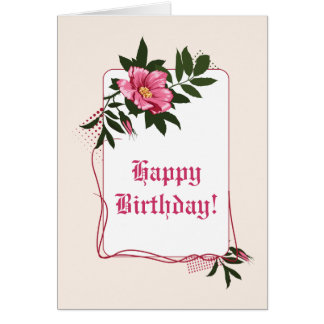 Pink wild rose, linen floral Happy Birthday Card