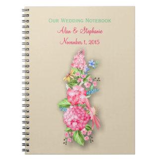 Pink Wildflower Bouquet Wedding Planning Notebook