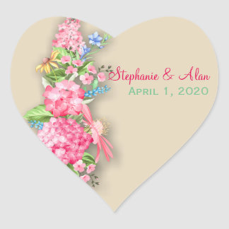 Pink Wildflower Bouquet Wedding Stickers