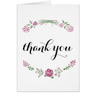 Pink wildflowers note card drawn floral stationery