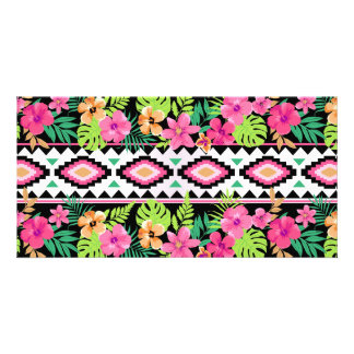 Pink Wildflowers Tribal Pattern Customized Photo Card
