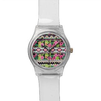 Pink Wildflowers Tribal Pattern Watch