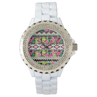 Pink Wildflowers Tribal Pattern Watches