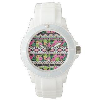 Pink Wildflowers Tribal Pattern Wrist Watch