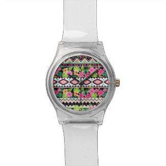 Pink Wildflowers Tribal Pattern Wristwatch