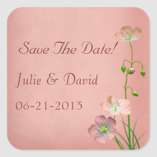 Pink Wildlowers on Burgundy Wedding Square Sticker