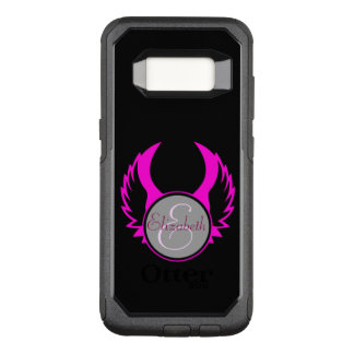 Pink Winged Monogram OtterBox Commuter Samsung Galaxy S8 Case