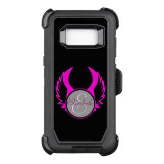 Pink Winged Monogram OtterBox Defender Samsung Galaxy S8 Case