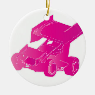 Pink winged sprint car ceramic ornament
