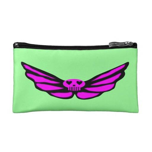 Pink Winked Skull Bagettes Bag Makeup Bags