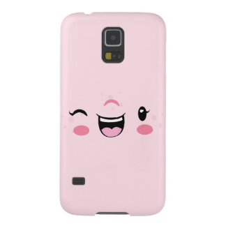 Pink Winking Kawaii Face Case Galaxy S5 Covers