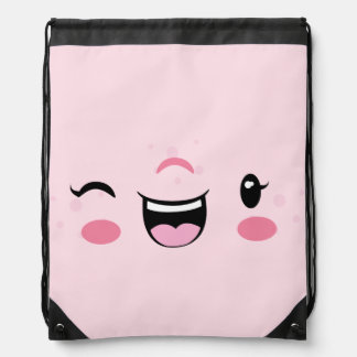 Pink Winking Kawaii Face Drawstring Bag