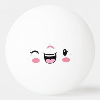 Pink Winking Kawaii Face Ping Pong Balls