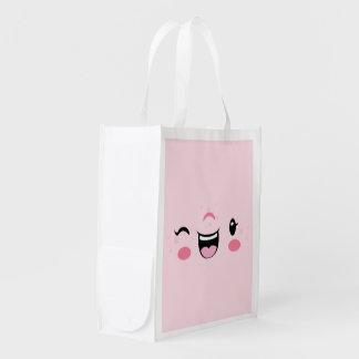 Pink Winking Kawaii Face Reusable Shopping Bag Reusable Grocery Bag
