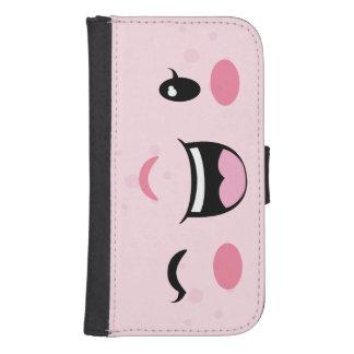 Pink Winking Kawaii Face Samsung Wallet Case Galaxy S4 Wallet Case
