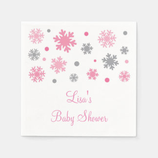 Pink Winter Snowflake Baby Shower Disposable Napkins
