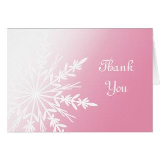 Pink Winter Snowflake Bridesmaid Thank You Card