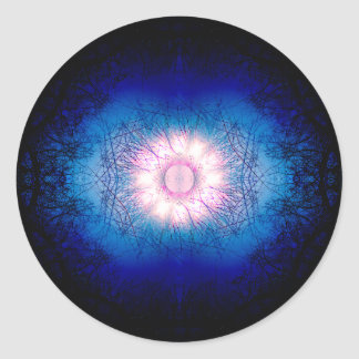 Pink Winter Sun Mandala Classic Round Sticker