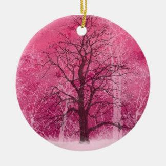 pink winter wonderland oranament ceramic ornament