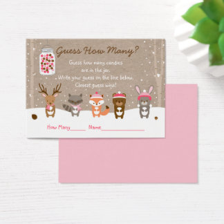 Pink Winter Woodland Animal Guess How Many Game Business Card