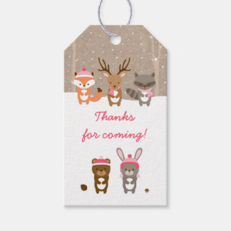 Pink Winter Woodland Animal Party Favor Tags Pack Of Gift Tags