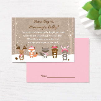 Pink Winter Woodland How Big Is Mommy's Belly Business Card
